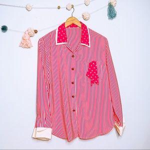 VINTAGE striped 60s 70s red polka dot blouse